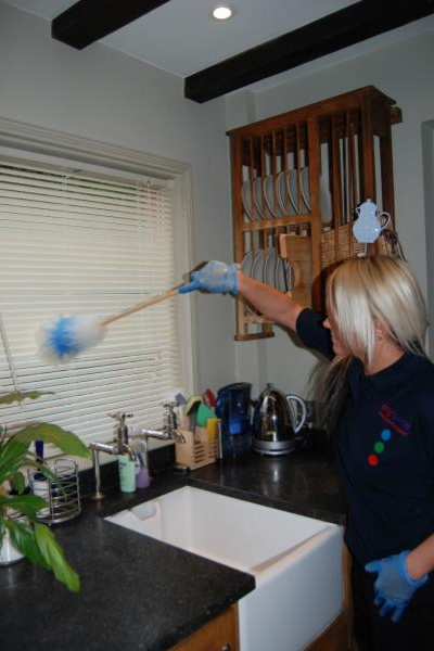 lady cleaning kitchen