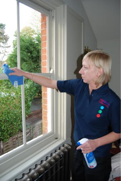 home cleaner cleaning windows